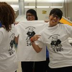 Graphics students showing off their T-shirt print skills